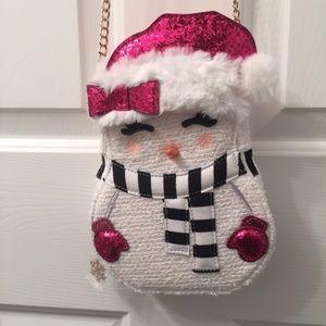 Betsey Johnson BNWT smiling snowman purse